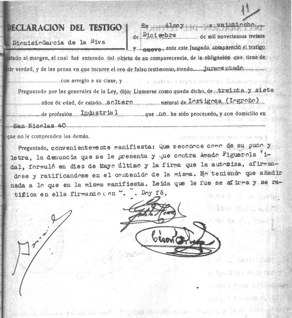 Declaración del testigo Dionisio García de la Riva